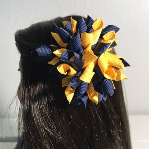 Handmade Blue and Gold Hair Clip